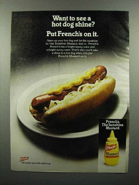 1980 French's Mustard Ad - Want to See a Hot Dog Shine?