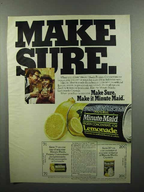 1980 Minute Maid Frozen Lemonade Ad - Make Sure
