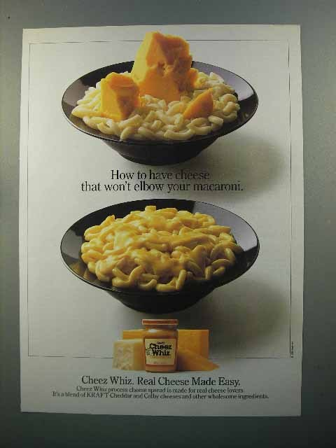 1985 Kraft Cheez Whiz Ad - Won't Elbow Your Macaroni