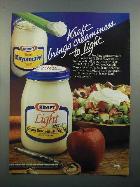 1985 Kraft Mayonnaise Ad - Brings Creaminess to Light