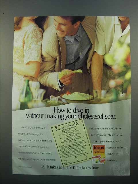 1992 Knox Gelatine Ad - Without Making Cholesterol Soar