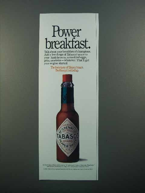 1990 Tabasco Pepper Sauce Ad - Power Breakfast