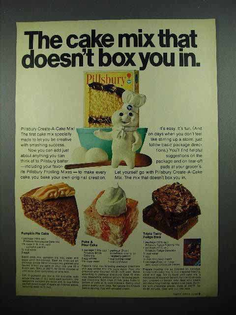 1969 Pillsbury Create-a-Cake Mix Ad - Box You In