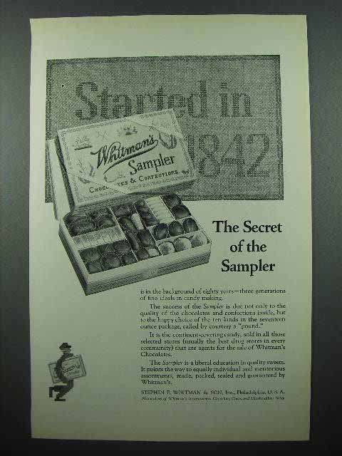 1923 Whitman's Sampler Chocolate Ad - The Secret