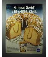 1980 Pillsbury Cinnamon Streusel Swirl Cake Mix Ad - $14.99