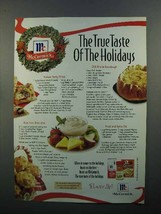 1997 McCormick Spices Ad - True Taste of the Holidays - $14.99