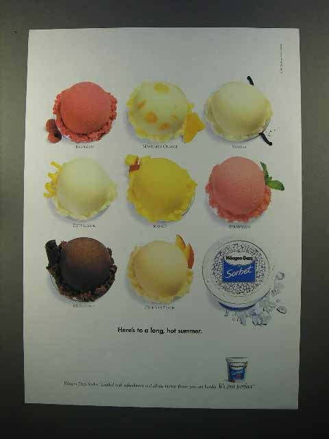 1999 Haagen-Dazs Sorbet Ad - Here's to a Long Summer