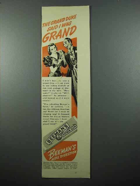 1940 Beeman's Pepsin Gum Ad - The Grand Duke