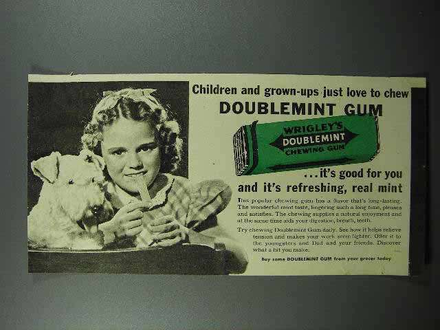 1941 Wrigley's Doublemint Gum Ad - Love to Chew