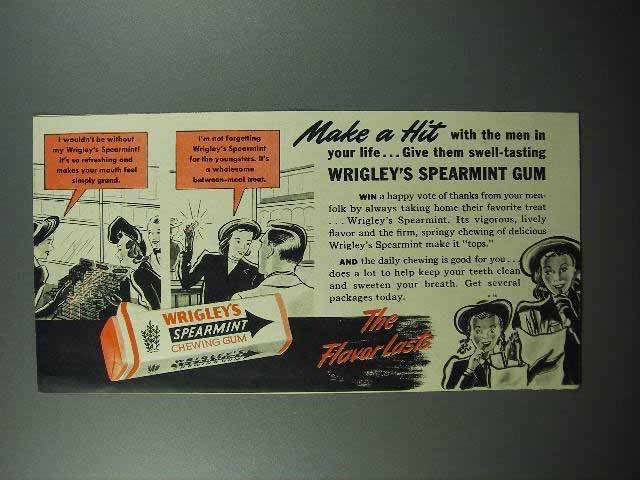 1942 Wrigley's Spearmint Gum Ad - Make a Hit