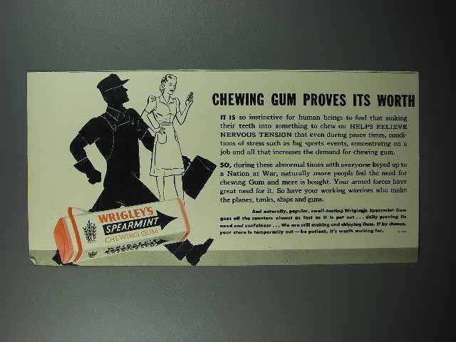 1942 Wrigley's Spearmint Gum Ad - Proves its Worth
