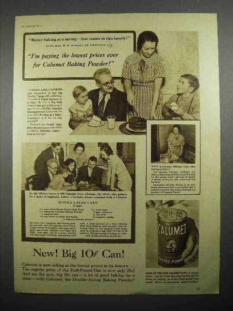 1935 Calumet Baking Powder Ad - Paying Lowest Prices