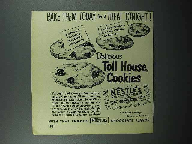 1950 Nestle's Chocolate Ad - Toll House Cookies