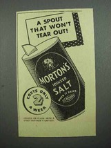 1936 Morton's Iodized Salt Ad - Spout Won't Tear Out - $14.99