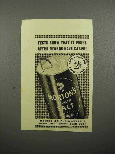 1937 Morton's Iodized Salt Ad - Tests Show It Pours