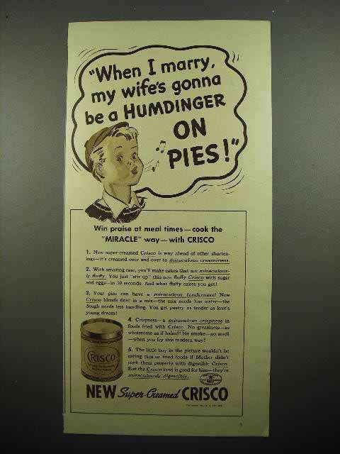 1937 Crisco Shortening Ad - Humdinger on Pies