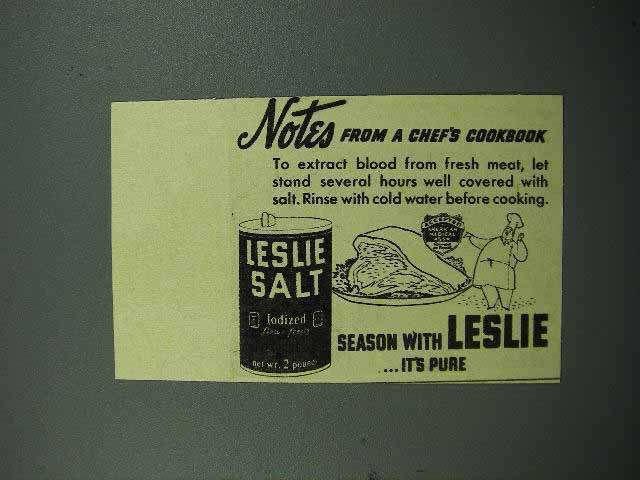 1940 Leslie Salt Ad - Notes From Chef's Cookbook