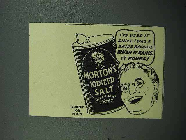 1940 Morton's Iodized Salt Ad - Since I was a Bride