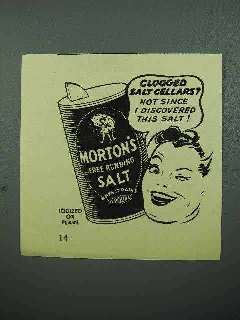 1940 Morton's Iodized Salt Ad - Clogged Salt Cellars?