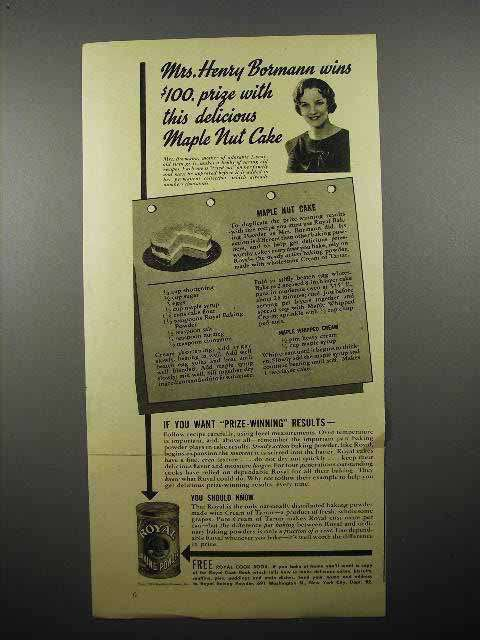 1941 Royal Baking Powder Ad - Maple Nut Cake