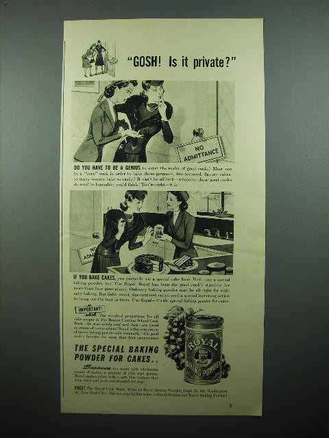 1941 Royal Baking Powder Ad - Gosh! Is it Private?
