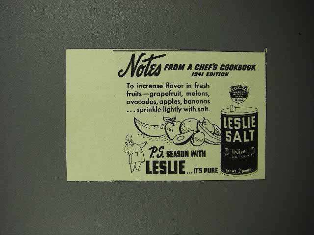 1941 Leslie Salt Ad - Increase Flavor in Fresh Fruits