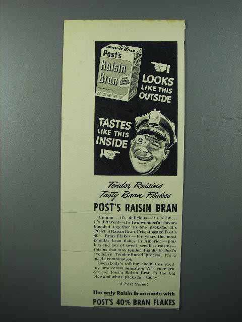 1945 Post's Raisin Bran Cereal Ad - Looks Like This