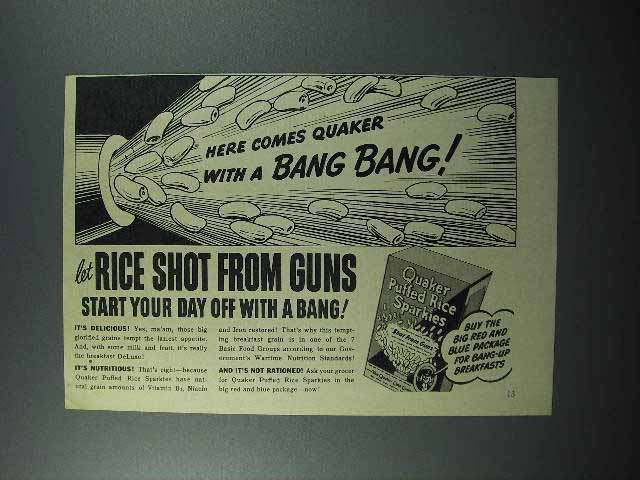 1945 Quaker Puffed Rice Sparkies Cereal Ad - Bang!