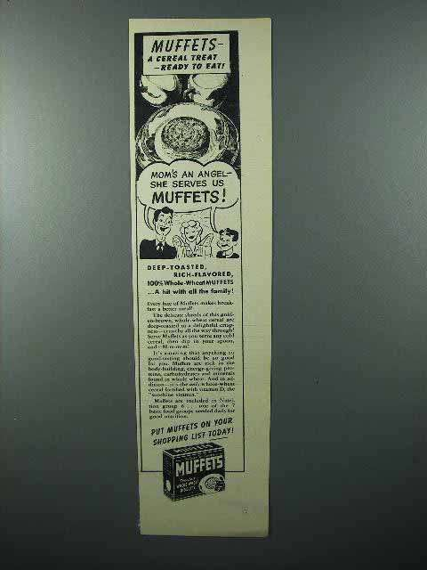 1944 Quaker Muffets Cereal Ad - Mom's An Angel