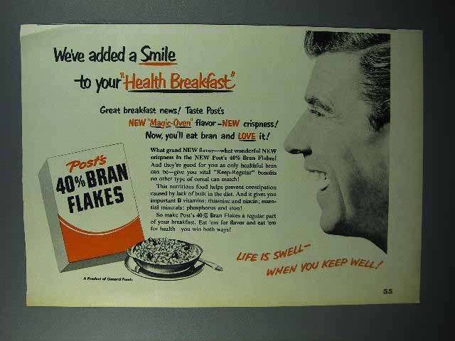 1951 Post's 40% Bran Flakes Cereal Ad - Smile
