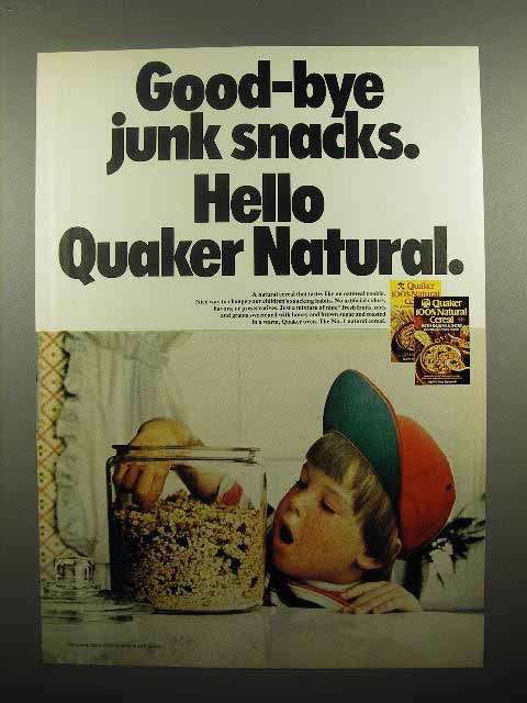 1975 Quaker 100% Natural Cereal Ad - Good-By Junk