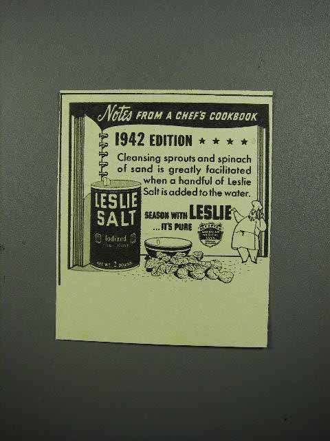 1942 Leslie Salt Ad - Notes from a Chef's Cookbook