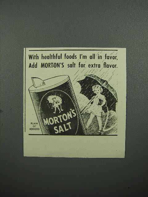 1942 Morton's Salt Ad - All in Favor for Extra Flavor