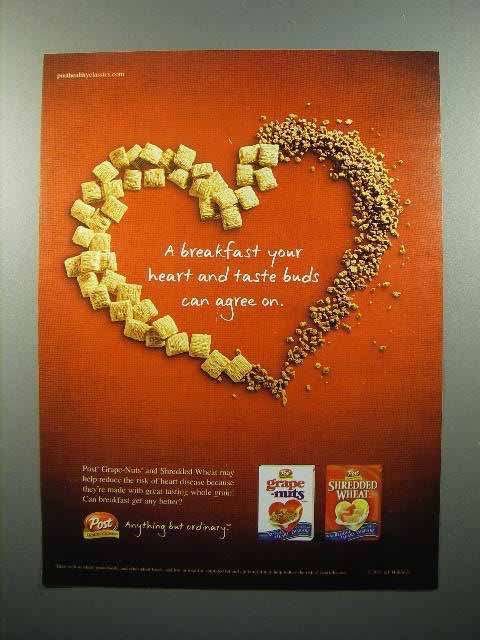 2003 Post Grape-Nuts, Shredded Wheat Cereal Ad