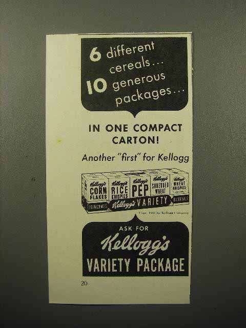 1941 Kellogg's Cereal Variety Package Ad - 6 Different