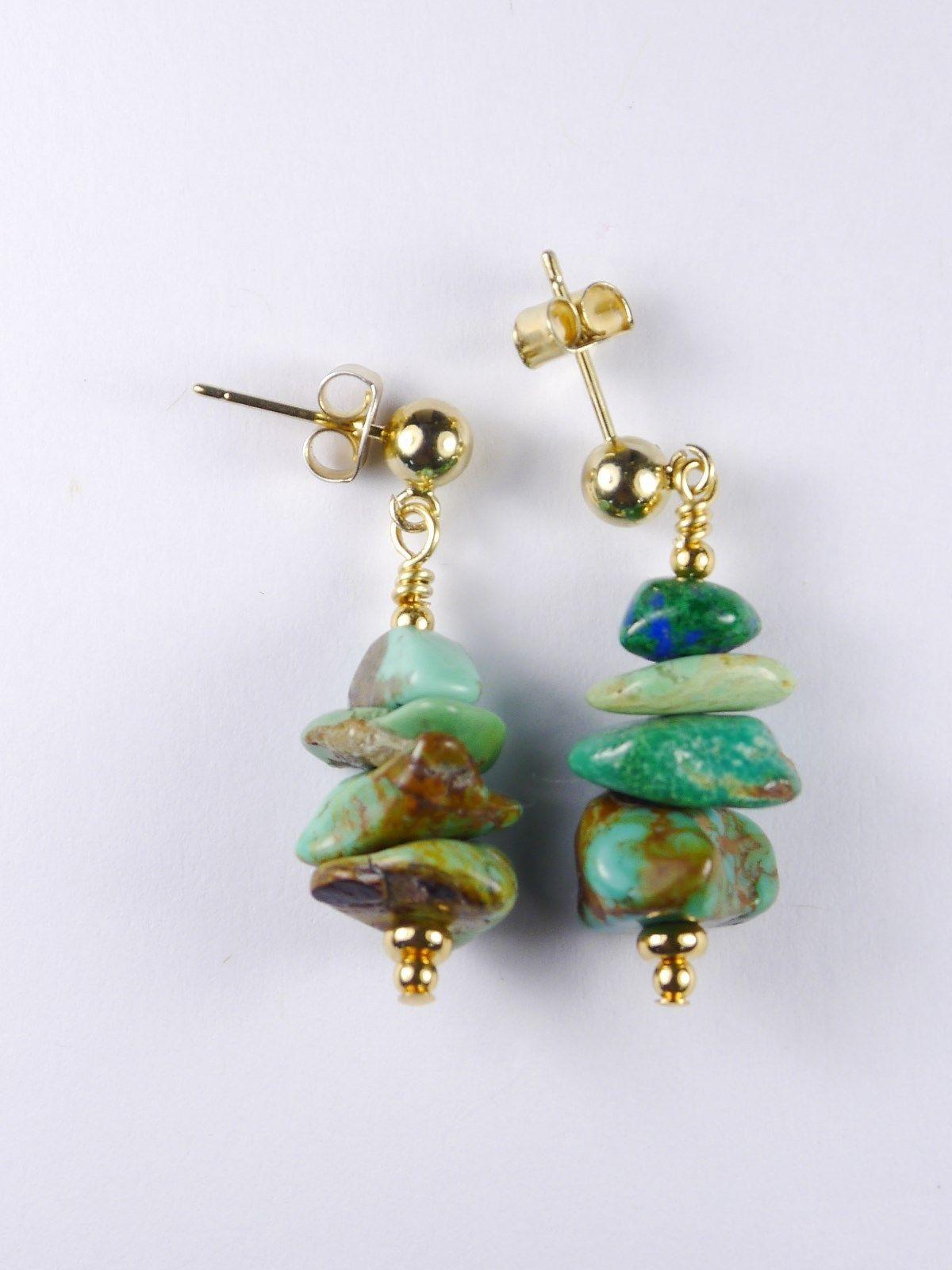 Turquoise Nugget / Kingman Arizona / Blue-Green / Earrings w/ 14/20k Gold / USA