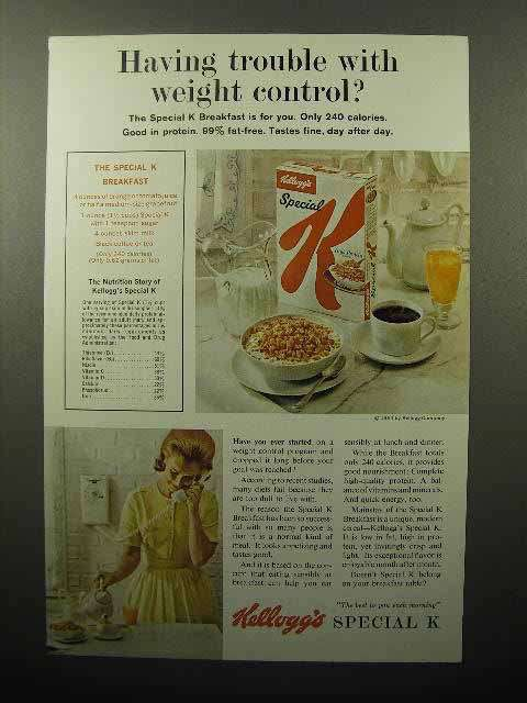 1964 Kellogg's Special K Cereal Ad - Having Trouble with Weight Control