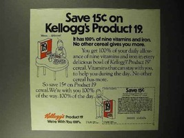 1982 Kellogg's Product 19 Cereal Ad - Save - $14.99