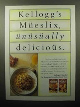 1993 Kellogg's Mueslix Cereal Ad - Unusually Delicious - $14.99