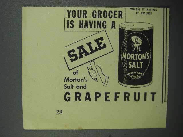 1944 Morton's Salt Ad - Grapefruit - Grocer Sale