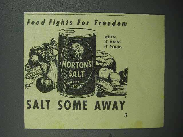 1944 Morton's Salt Ad - Fights for Freedom