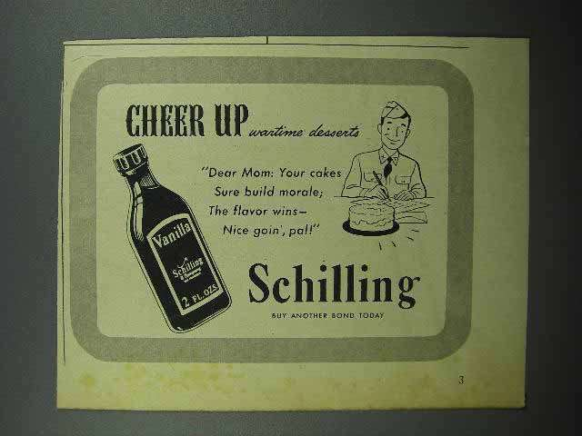 1944 Schilling Vanilla Ad - Cheer Up