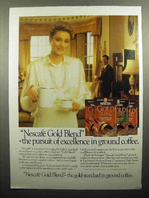 1985 Nescafe Gold Blend Coffee Ad - Pursuit Excellence