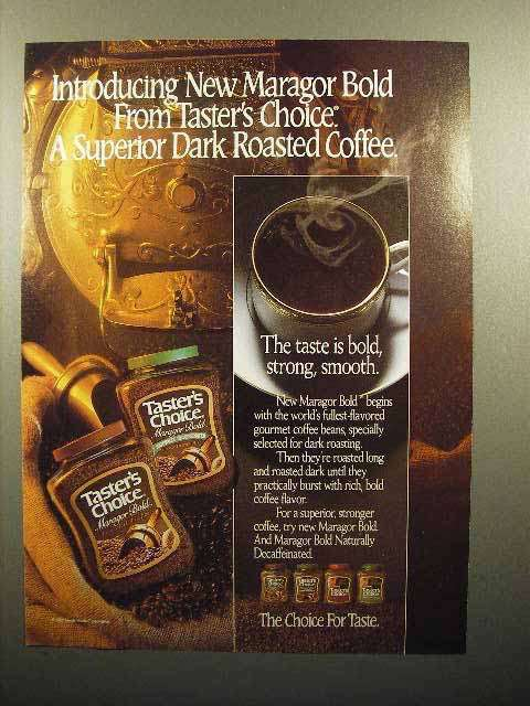1986 Taster's Choice Maragor Bold Coffee Ad