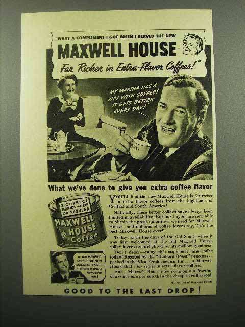 1941 Maxwell House Coffee Ad - Extra-Flavor