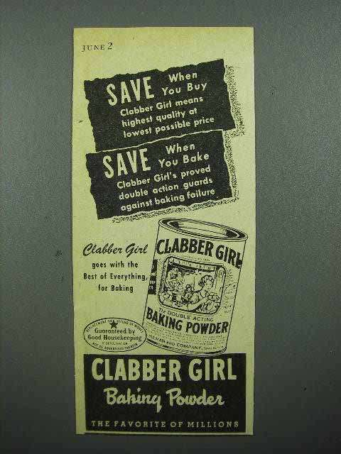 1944 Clabber Girl Baking Powder Ad - Save When You Buy