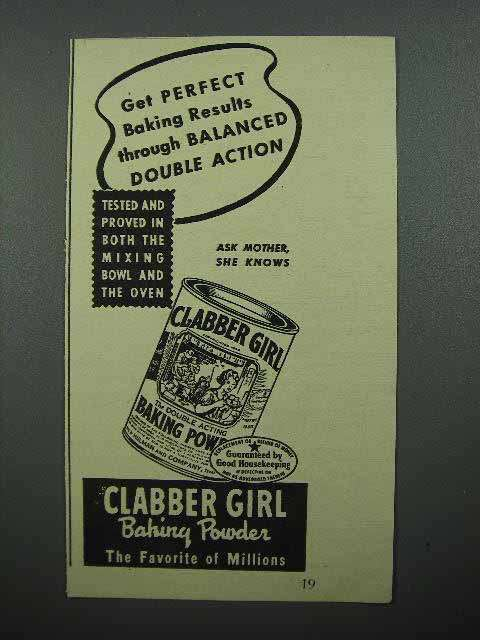 1944 Clabber Girl Baking Powder Ad - Double Action