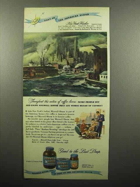 1947 Maxwell House Coffee Ad - New York Harbor