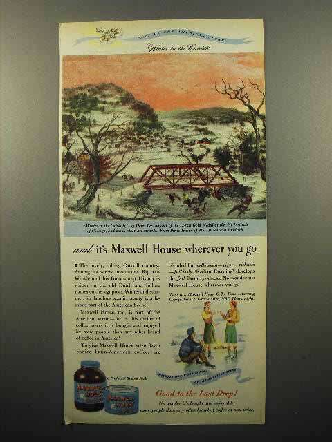 1947 Maxwell House Coffee Ad - Winter in the Catskills