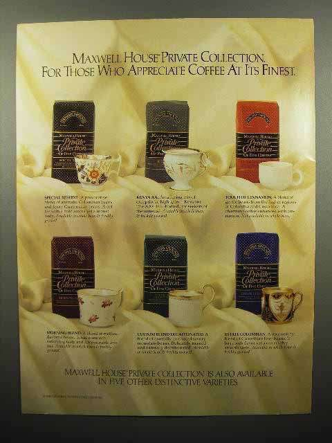 1988 Maxwell House Private Collection Coffee Ad